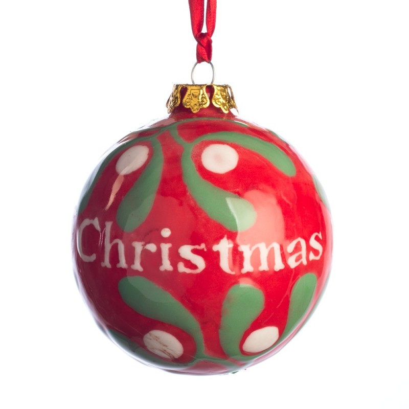 christmas baubles red mistletoe large bauble - Large Red Christmas Decorations